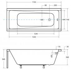 Akrilinė vonia Besco MODERN (170x70 cm) su kojomis