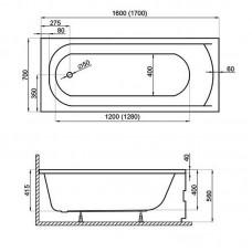 Akrilinė vonia JAVA (160x70 cm) su kojomis