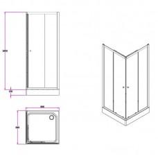 Dušo kabina Duschy kvadratinė 984-80 (80x80 cm)
