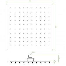 Lietaus dušo galva KVADRATO Slim 30x30 cm kvadratinė, metalinė, juodos spalvos