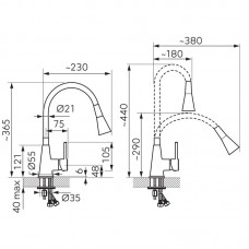 Maišytuvas virtuvinis lanksčiu snapu ZUMBA II (juodas)