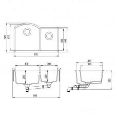 Akmens masės plautuvė ARCA-SQA220W (81x52 cm)