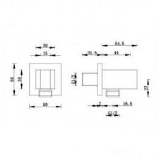 Sieninis dušo išvadas KVADRATO su laikikliu chromuotas