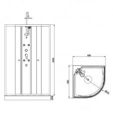 Dušo kabina Duschy masažinė pusapvalė 5502 (90x90 cm)