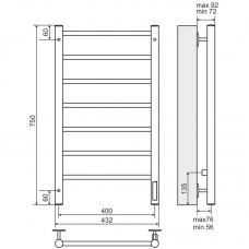 Elektrinis rankšluosčių džiovintuvas-kopėtėlės TERMINUS Aurora (750 x 432 mm)