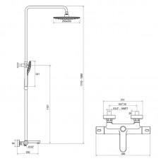 Dušo stovas Termo 300 su termostatiniu maišytuvu ir dušo komplektu Ravak TD 092.00/150