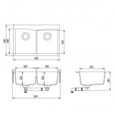 Akmens masės plautuvė ARCA-SQA210AW (84x56 cm)