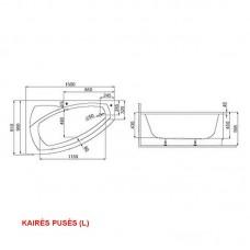Apdailos plokštė (uždanga) kampinei akrilinei voniai CUBA (150x90 cm)