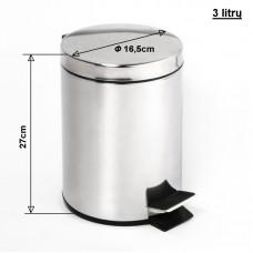 Šiukšlių dėžė chromuota 3/5/12 litrų su dangčiu