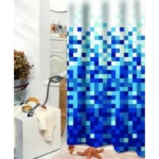 Užuolaidos tekstilinės voniai PIXLAR mėlyna 180x200cm