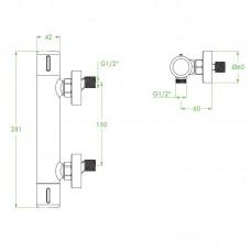 Maišytuvas dušo PRETTO termostatinis juodas