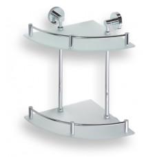 Bemeta Dviguba kampinė stiklinė lentynėlė 280x280x380 mm Omega